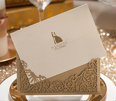 CW1016, Dark Golden Paper Cutting Shiny Lovers Wedding Invitations Cards