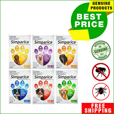 SIMPARICA Flea and Tick treatment 3 Chews for Dogs All Size by Zoetis