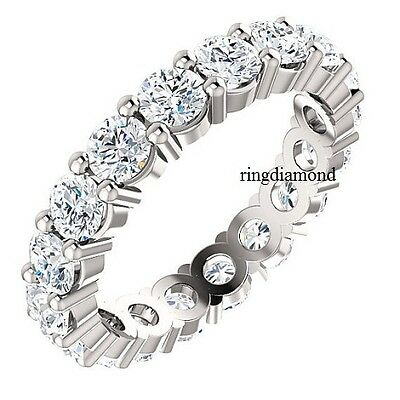4 Ct Off White Moissanite Eternity Band Engagement Ring 925 Sterling Silver