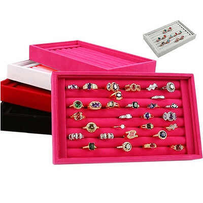 Earrings Rings Jewelry Display Velvet  Ring Tray Organizer Holder Case Show Box