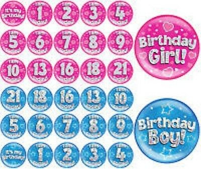 HOLOGRAPHIC Jumbo Birthday Badge Girls Boys Age Blue Pink 6 Inch
