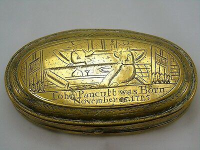 Antique 18th Century Brass Oval Engraved Tobacco Box
