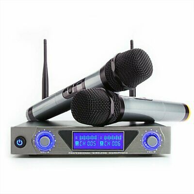 ARCHEER UHF Wireless Microphone System W/ LCD Display+2 Handheld Mic Party KTV