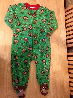 Boy's Monkey Green Fleecey Sleepsuit All-in-one Playsuit -  18-24 months