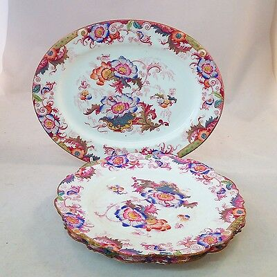 Cauldon Pink Bentick Oval Platter with Two Side Plates Vintage