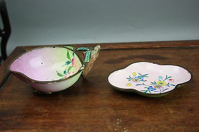 19th/20th C. Chinese Enamel Peach Bowl and Tray