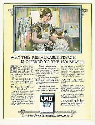 1920's BIG Vintage Linit Starching Powder Housewife Ironing Laundry Art Print Ad