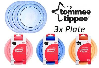 Baby Feeding Food Dish Table Plates Tommee Tippee Essential Bpa Free 12m+ 3Pk