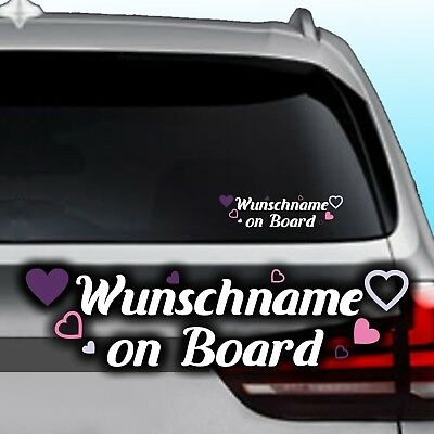 A64# Aufkleber Wunschname on Board Kind an Bord Baby Name Herz Kids Sticker Auto