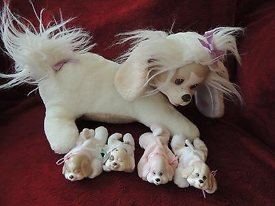VTG Puppy Surprise Plush Stuffed Animal 1991 Hasbro Mom Dog 4 Puppies HAS COLLAR