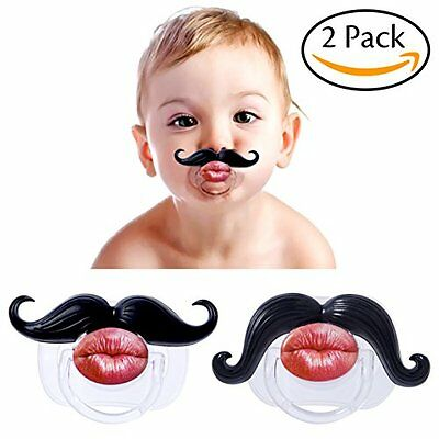 Hibery 2Pcs Mustache Pacifier, Toddler Soft Silicone, Funny Gentleman Mustache,
