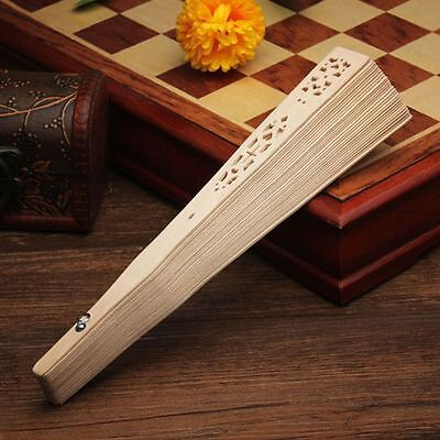 Wedding Hand Carved Fragrant Party Chinese Style Bamboo Folding Fan Wooden