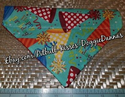 DOG BANDANA Over Collar XS-L HAPPY BIRTHDAY TEAL Multicolor Party Hats Celebrate