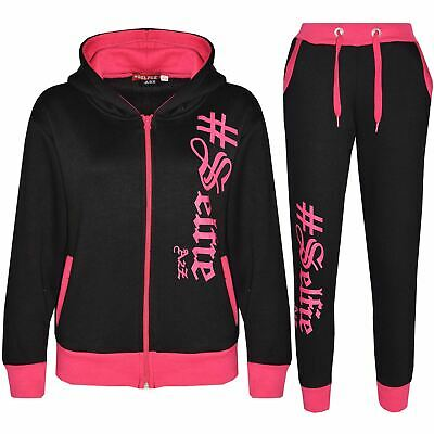 Boys Girls Jogging Suit Kids Designer's #Selfie Top Bottom Tracksuit 7-13 Years