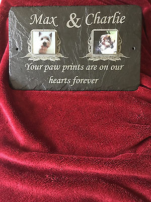 Double Picture Pet Memorial Slate. Personalised Plaque in Large, Medium & Small