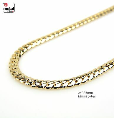 """Men's 6 mm Solid 14k Yellow Gold Plated Miami Cuban Link Chain Necklace 24"""""""