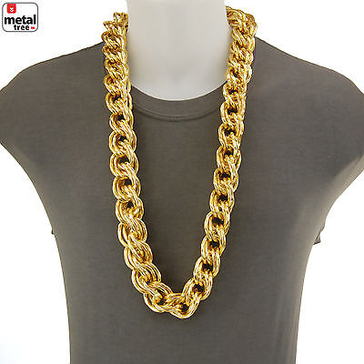 """Rapper Hip Hop 14K Gold Plated Hollow Chunk Alloy Rope Chain 36"""" Necklace ALM001"""