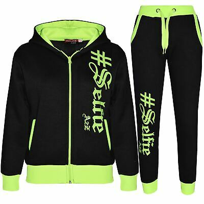 Kids Jogging Suit Boys Girls Designer's #Selfie Top & Bottom Tracksuit 7-13 Year