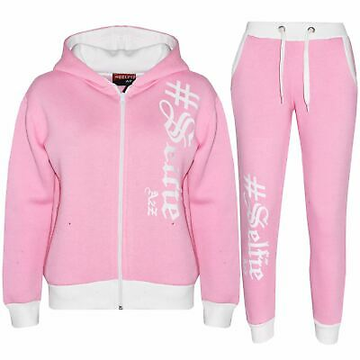Kids Tracksuit Boys Girls Designer's #Selfie Top & Bottom Jogging Suit 7-13 Year