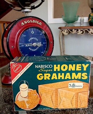 Very Rare Antique 1940's Green Nabisco 1 Lb Honey Grahams Cardboard Box XLNT!!!
