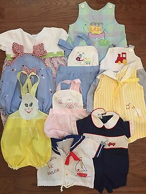 LOT of Vintage Baby Clothes Sunsuits Rompers Sailor Retro Seersucker 1960s 1970s
