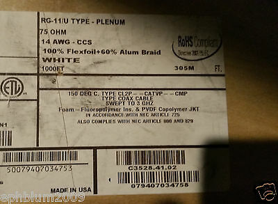Carol C3528 RG11/U Premium Kynar/Teflon Plenum Direct Burial Coaxial Cable/100ft
