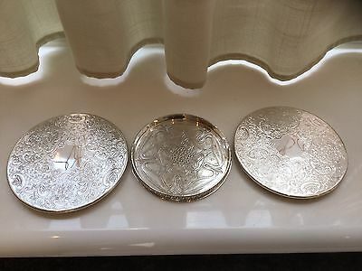 Lovely Vintage Silver Plated Chased Wine Bottle Coasters