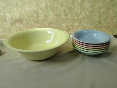 Vintage INTERSTATE SUNRISE Serving BOWL & 6 SAUCE DISHES,C.1930,Taylor-Smith-Tay