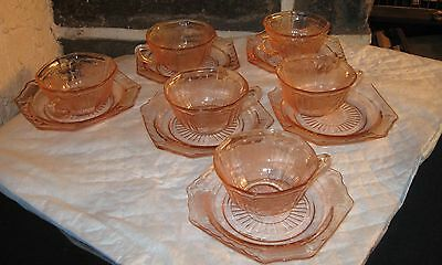 Cups and Saucers set of 6 Open Rosed pink very nice lot