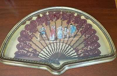 Antique Hand Fan In Gold Gilded Shadow Box Frame Wood Carved,Painted,Beaded Lace