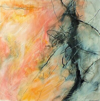 J.Taylor Abstract art original contemporary painting on paper peach orange pink