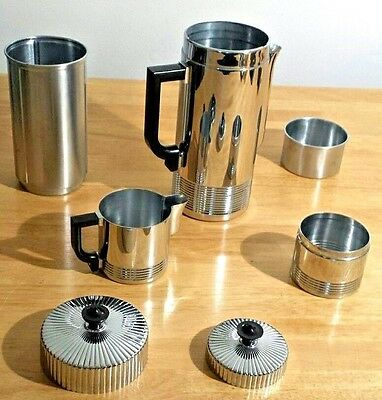 American Art Deco Chase Continental Coffee Sets by Walter Von Nessen