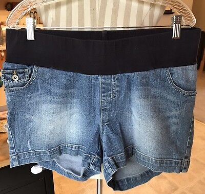 VGUC Motherhood Maternity Denim Shorts Size L Large Med Wash Under Belly Panel