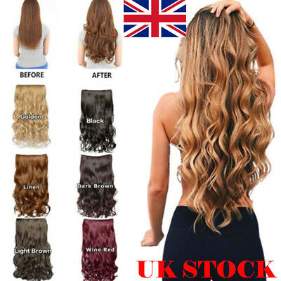 "One Piece 5 Clips Synthetic Women Hair Extensions 50cm/19.5""Long Wavy Curly Hair"