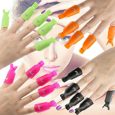 10PCS Nail Art Toenail Soak Off Clip Cap UV Gel Polish Clamp Remover Wrap Tools
