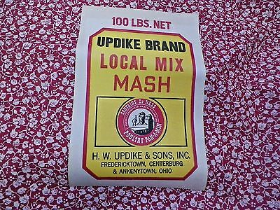 Vtg 1940~50~Feed Sack~Red~Vines~~Nos~Label~Material~Updike Brand~Ohio