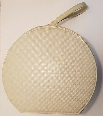 Vintage Round Train Hat Box Luggage With Handle Zipper Cream Ivory Color