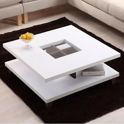 Modern Square Wood Coffee Table With Center Gl Inlaid