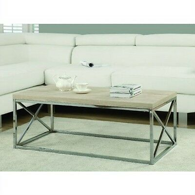 Contemporary Chrome Metal Coffee Table With Natural Finish Wood Top