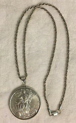 2017 US 1 Troy Oz .999 Fine Silver American Eagle Coin Sterling Silver Necklace