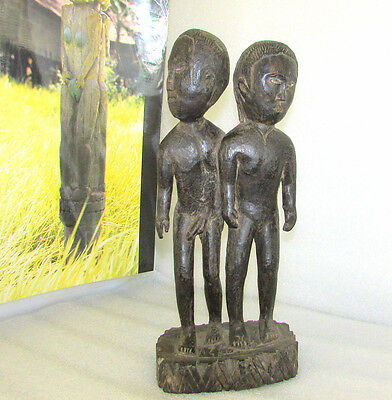 DAYAK CARVED WOOD DOUBLE FERTILITY MALE & FEMALE FIGURE HAMPATONG EARLY 1900's