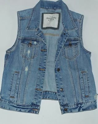 Abercrombie and fitch Women's Distressed Light Wash Denim Vest Sz Med