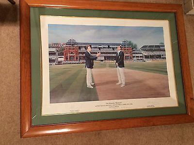 CRICKET RARE Signed Print 'An Historic Moment' England V South Africa 1994