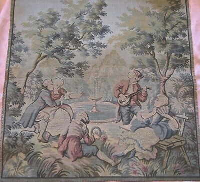 """antique/vinage tapestry panel made in France 19.5"""" sq, 2 couples, pastoral scene"""