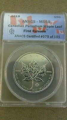 2015 Canadian Maple leaf 1oz Palladium Coin #79 of 101 First Release