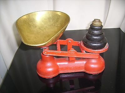 Antique Cast Iron SALTER Shop Scale with 7 Imperial weights & Brass Bowl