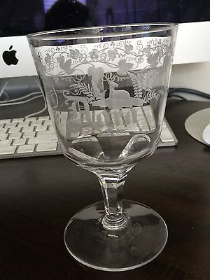 etched glass water goblet vintage/ antique- 1890's family owned
