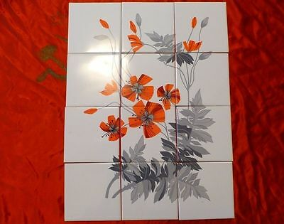 VTG Russian USSR lot 12 decor tile composition flovers 1970s EXC!!