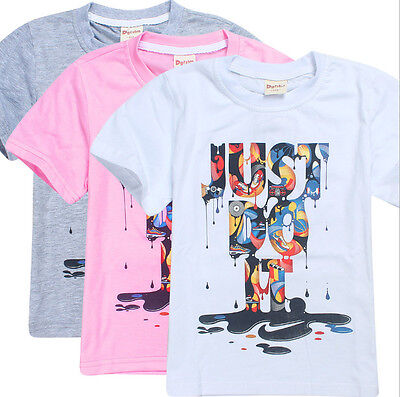 """New  """" JUST DO IT"""" T shirts Kids Boys Summer Casual T shirts Tops Clothes 4-10Y"""