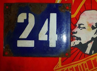 Vintage old USSR RUSSIA enamel street sign 24 home namber 14x11cm 1950s